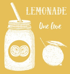 Lemonade in hipster jar with straw vector image vector image