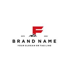 Letter f mountain logo design concept vector