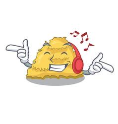 Listening music hay bale mascot cartoon vector