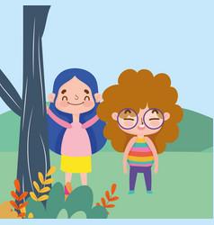 Little girls cartoon character facial expression vector