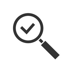 magnifying glas with checkmark black icon isolated vector image