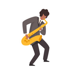 male jazz musician in elegant suit playing vector image