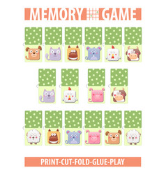 Memory card game with cartoon animals different vector