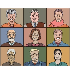 Middle aged faces vector