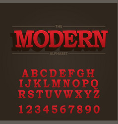 modern bold font and alphabet font with shadow vector image