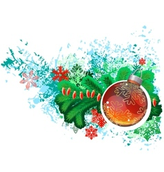 Modern trendy christmas picture with green branch vector image