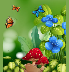 Nature scene with colorful butterflies and flowers vector