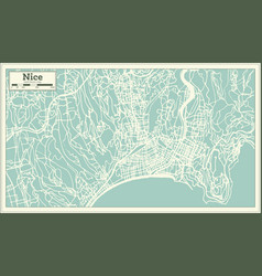 Nice france city map in retro style outline map vector