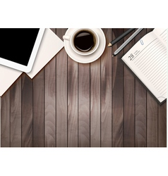 Office workspace background - coffee tablet vector