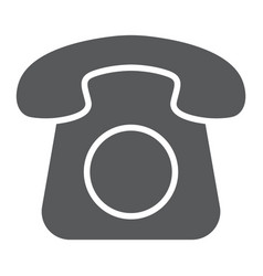 old phone glyph icon contact us and telephone vector image