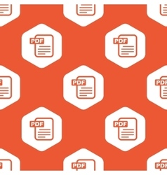 Orange hexagon PDF file pattern vector