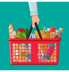 Plastic shopping basket full of groceries products vector
