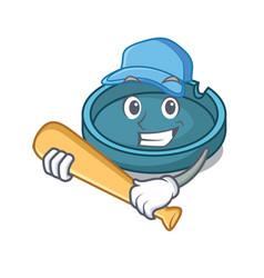 Playing baseball ashtray character cartoon style vector