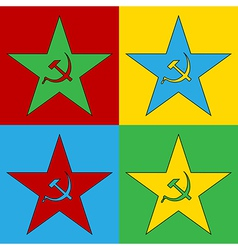 Pop art communism star icons vector