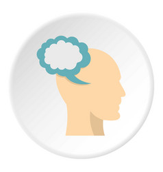 Profile of the head with cloud inside icon circle vector