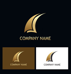 sail abstract gold business logo vector image