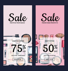 Sale banners for beauty shop vector