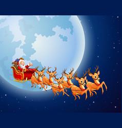 Santa drove a wildebeest background full moon vector