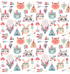 Seamless pattern with cute woodland boho tribal vector