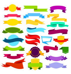 set colored ribbon banners vector image