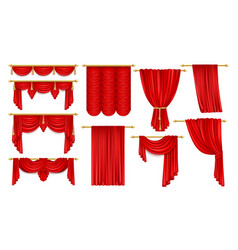 Set isolated open red curtain for theateropera vector