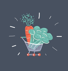shopping cart with vegetable in supermarket vector image