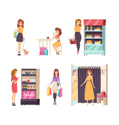 shopping female looking at cosmetics stand vector image