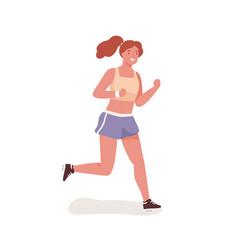 Smiling sportswoman enjoying outdoor physical vector