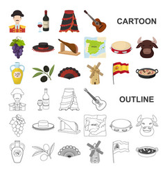 Spain country cartoon icons in set collection for vector