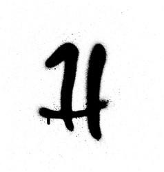 Sprayed h font graffiti with leak in black vector