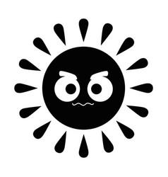 summer sun angry kawaii character vector image