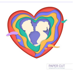 template of greeting card with shape of kissing vector image