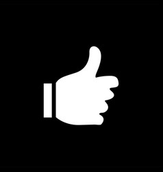 thumbs up icon on black background black flat vector image