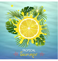 Tropical background with juicy lemon vector