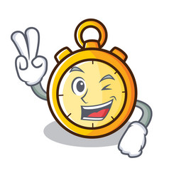 Two finger chronometer character cartoon style vector
