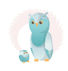 two owl look at each other animals mom and baby vector image