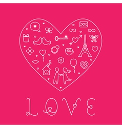 Valentines Day Love Card - with Flat Icons vector image