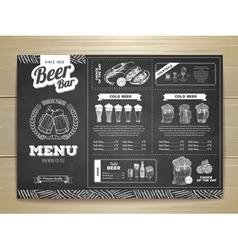 Vintage chalk drawing beer menu design vector
