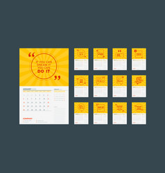 Wall calendar planner template for 2020 design vector