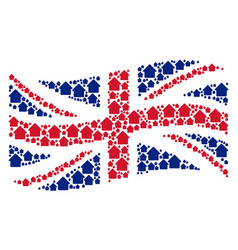 waving great britain flag collage of cabin items vector image