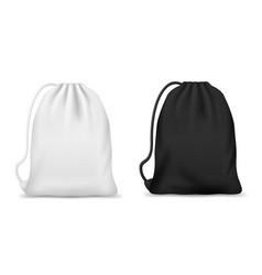 White and black drawstring bag or backpack mockups vector
