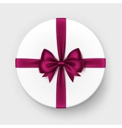 White Gift Box with Red Bow and Ribbon vector image