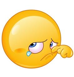 Wiping tear emoticon vector