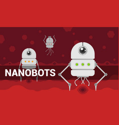 with cartoon flat nanobots in vector image