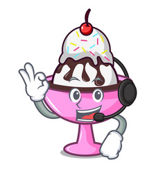 With headphone ice cream sundae mascot cartoon vector