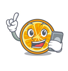 With phone orange character cartoon style vector