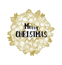 Xmas golden wreath and greetings vector