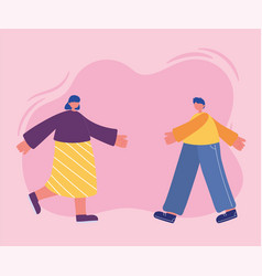 young woman and man characters walking side view vector image