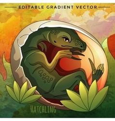 Hatching dinosaur egg vector