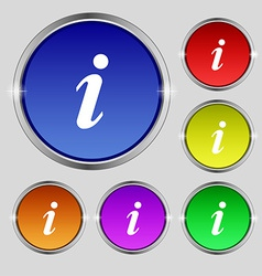 Information Info icon sign Round symbol on bright vector image